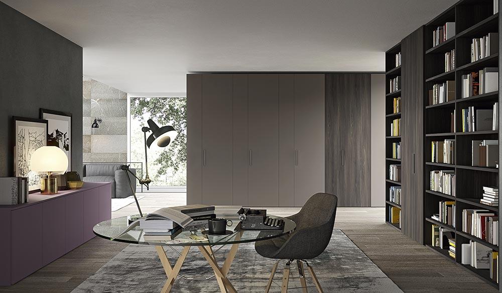 libreria studio con armadio anta battente